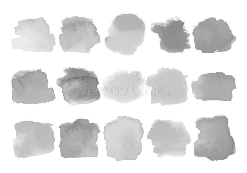 Reeks grijze waterverfvlekken op wit stock illustratie