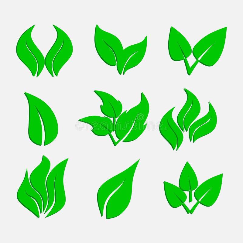 Reeks groene bladeren, ecologische pictogrammen, stickers, abstracte aard stock illustratie
