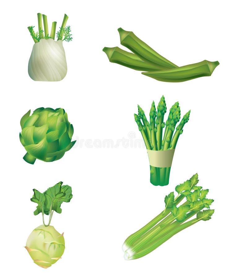 Reeks groene groenten royalty-vrije illustratie