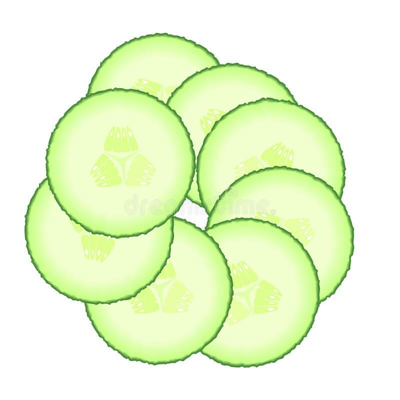 Reeks groene komkommerplakken Illustratie van groenten op een witte achtergrond wordt geïsoleerd die Dieet gezonde natuurvoeding stock illustratie