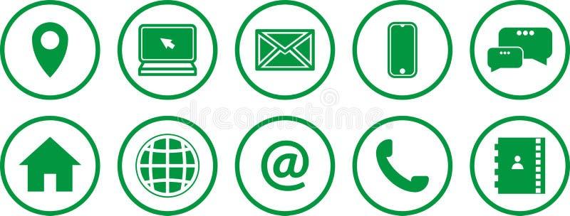 Reeks Groene Pictogrammen Communicatie pictogrammen Contacteer ons pictogrammen vector illustratie