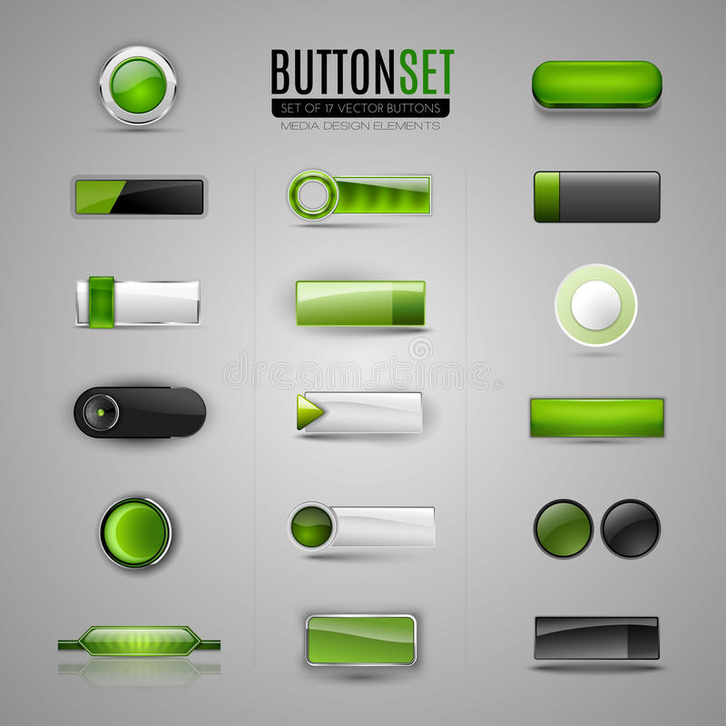 Reeks groene vectorknopen voor Web, infographic app, stock illustratie