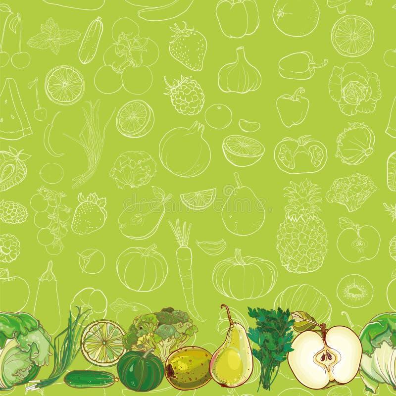 Reeks groene vruchten en groenten op lichtgroene achtergrond vector illustratie