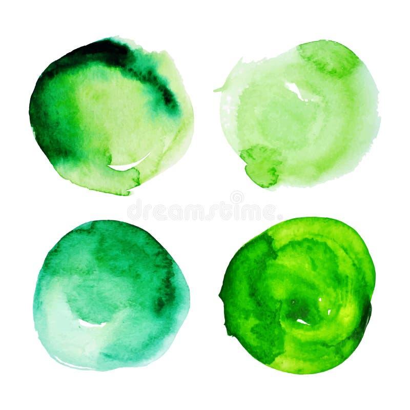 Reeks groene watercolourvlekken royalty-vrije illustratie