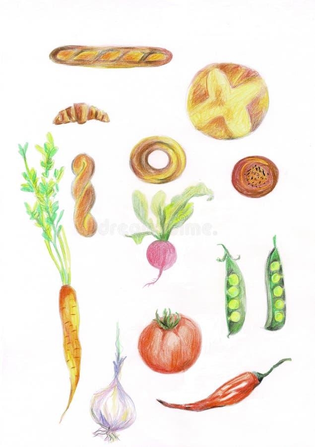 Reeks groenten en vruchten Malplaatje voor uw ontwerp Illustratie vector illustratie