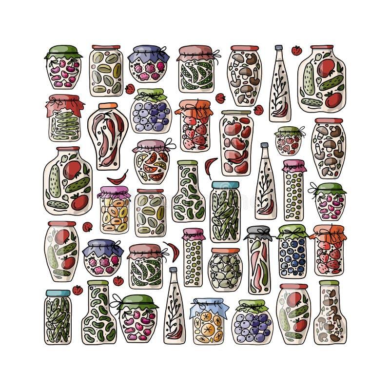 Reeks groenten in het zuurkruiken met vruchten en groenten vector illustratie