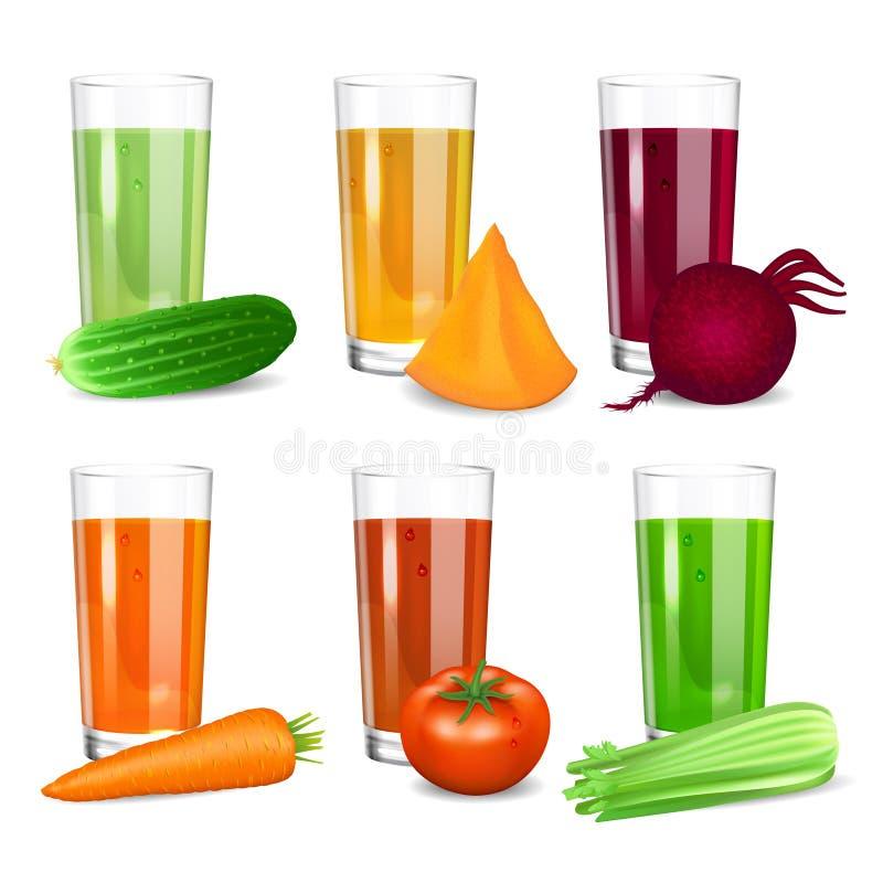 Reeks groentesappen Komkommer, tomaat, wortel, pompoen, biet vector illustratie