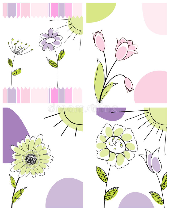 Reeks groetkaarten vector illustratie