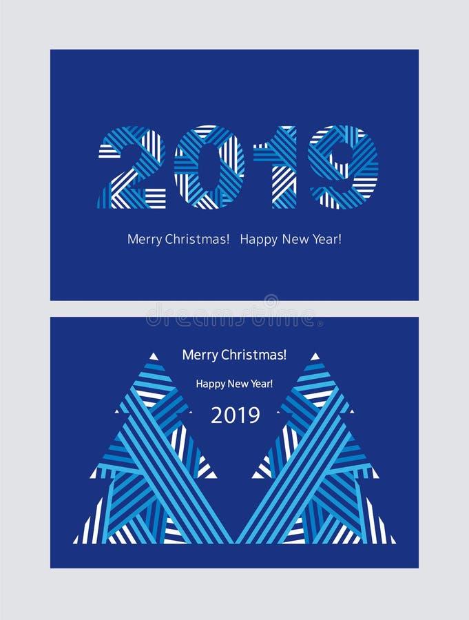 Reeks groetkaarten Gelukkig Nieuwjaar 2019 Vrolijke Kerstmis Achtergrond voor een uitnodigingskaart of een gelukwens stock illustratie