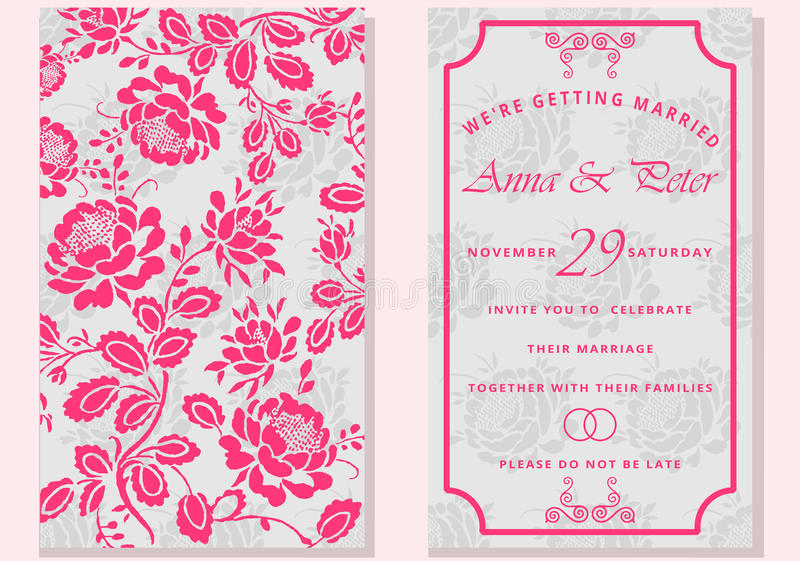 reeks groetkaarten met bloem Sparen de Datum Het modieuze van letters voorzien voor groeten vector illustratie