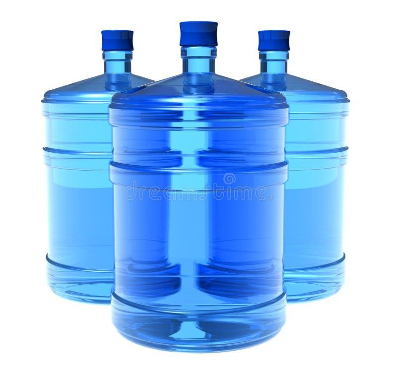 Reeks grote flessen water vector illustratie