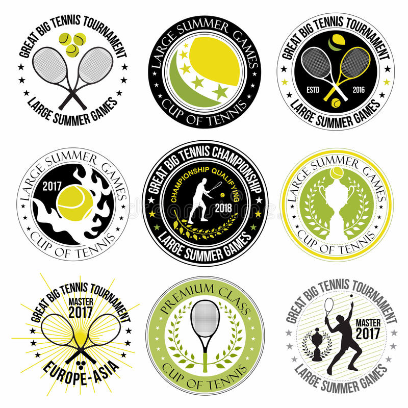 Reeks grote tennisemblemen, etiketten en kentekens royalty-vrije illustratie