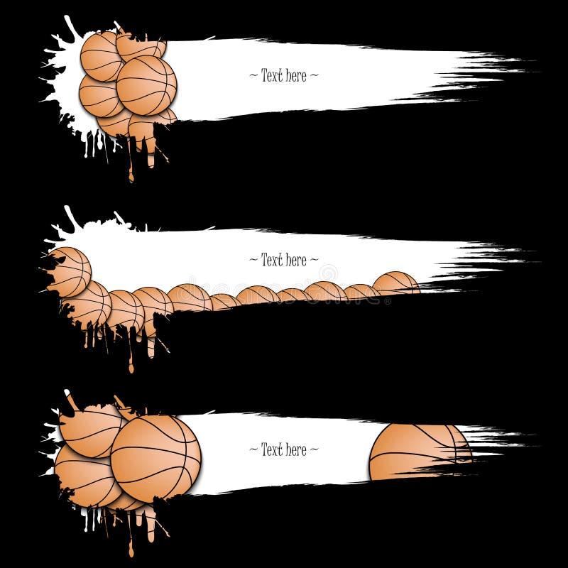Reeks grunge banners met vlekken en basketbalballen vector illustratie