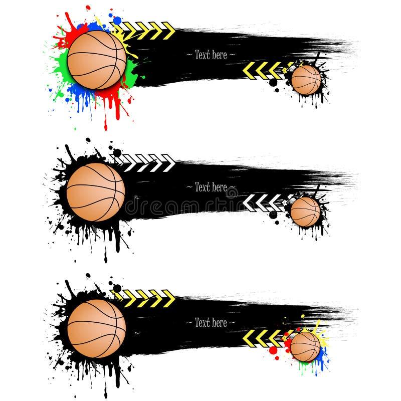 Reeks grunge banners met vlekken en basketbalballen royalty-vrije illustratie