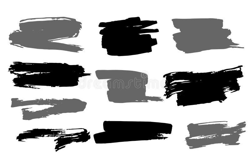 Reeks grunge vectorkwaststreken De artistieke Elementen van het Ontwerp stock illustratie