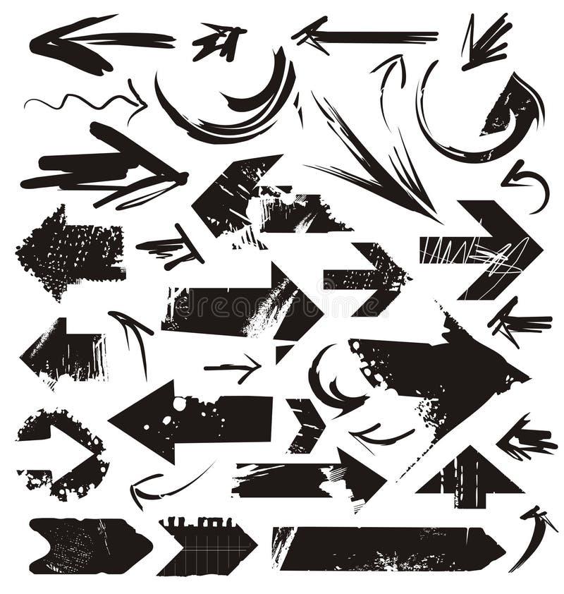 Reeks grungepijlen stock illustratie