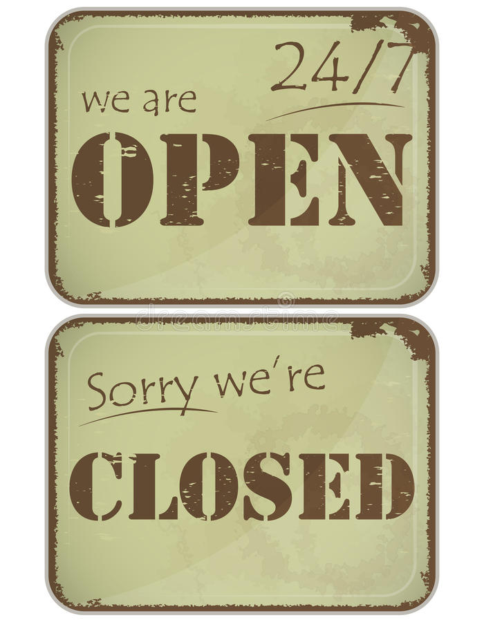 Reeks grungetekens: open - gesloten - 24 uren stock illustratie