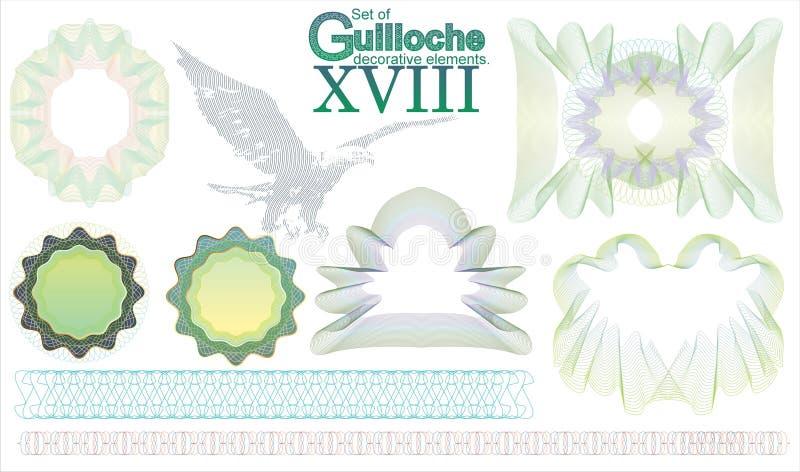 Reeks Guilloche decoratieve elementen royalty-vrije illustratie