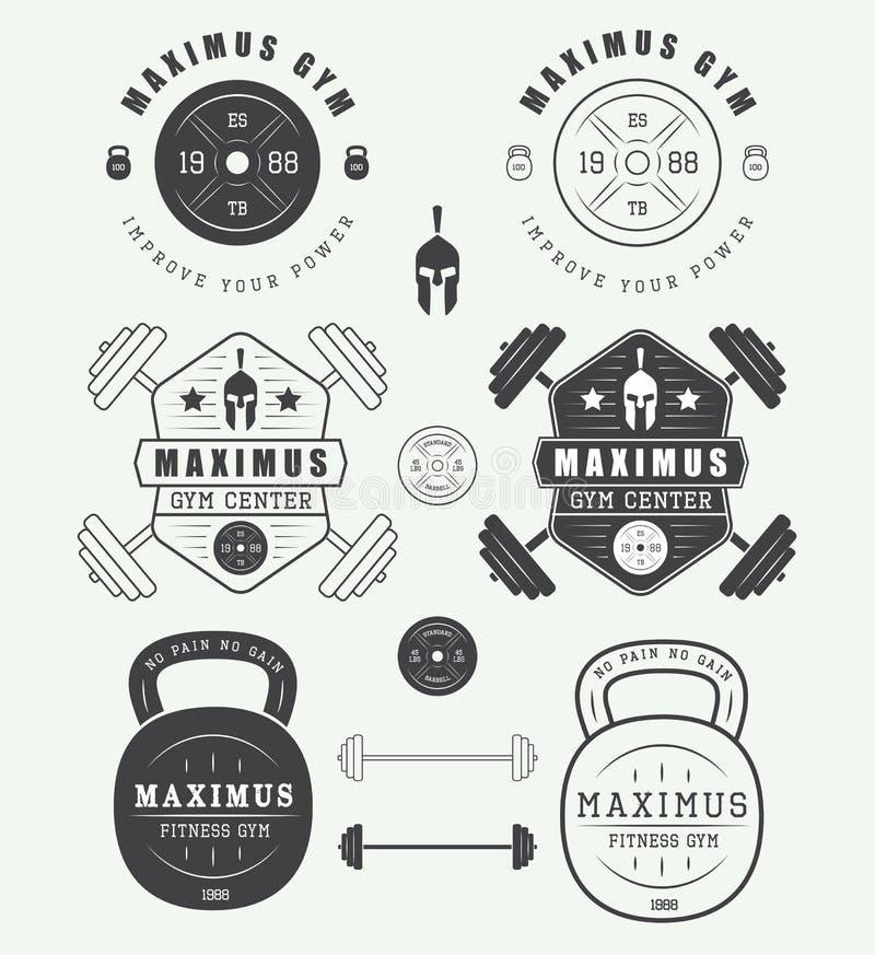 Reeks gymnastiekemblemen, etiketten, kentekens en elementen in uitstekende stijl stock illustratie