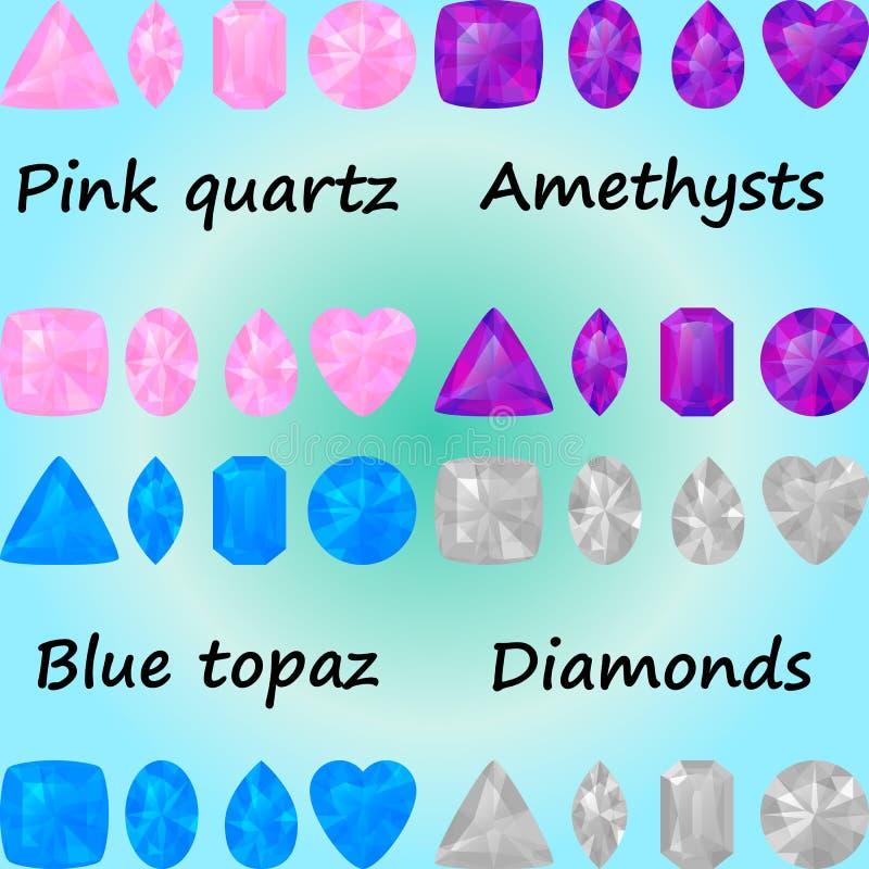 Reeks halfedelstenen: roze kwarts, ametysts, blauwe topaas, diamanten stock illustratie