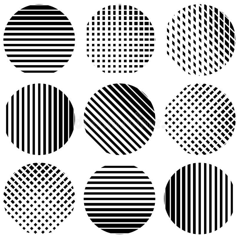 Reeks halftintlijnen in cirkels Rechtstreeks verticaal, horizontaal royalty-vrije illustratie