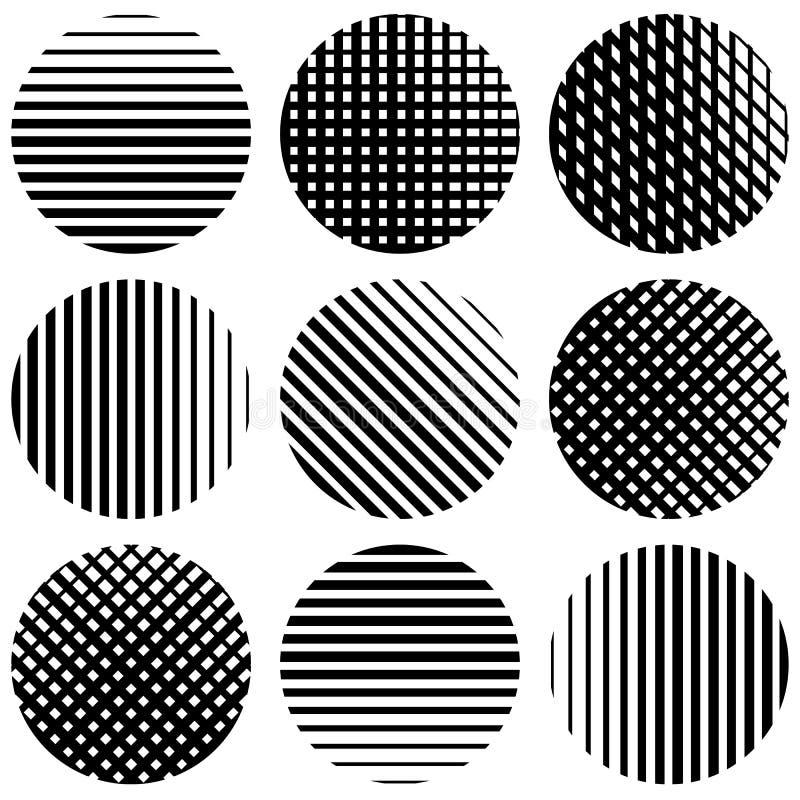 Reeks halftintlijnen in cirkels Rechtstreeks verticaal, horizontaal stock illustratie