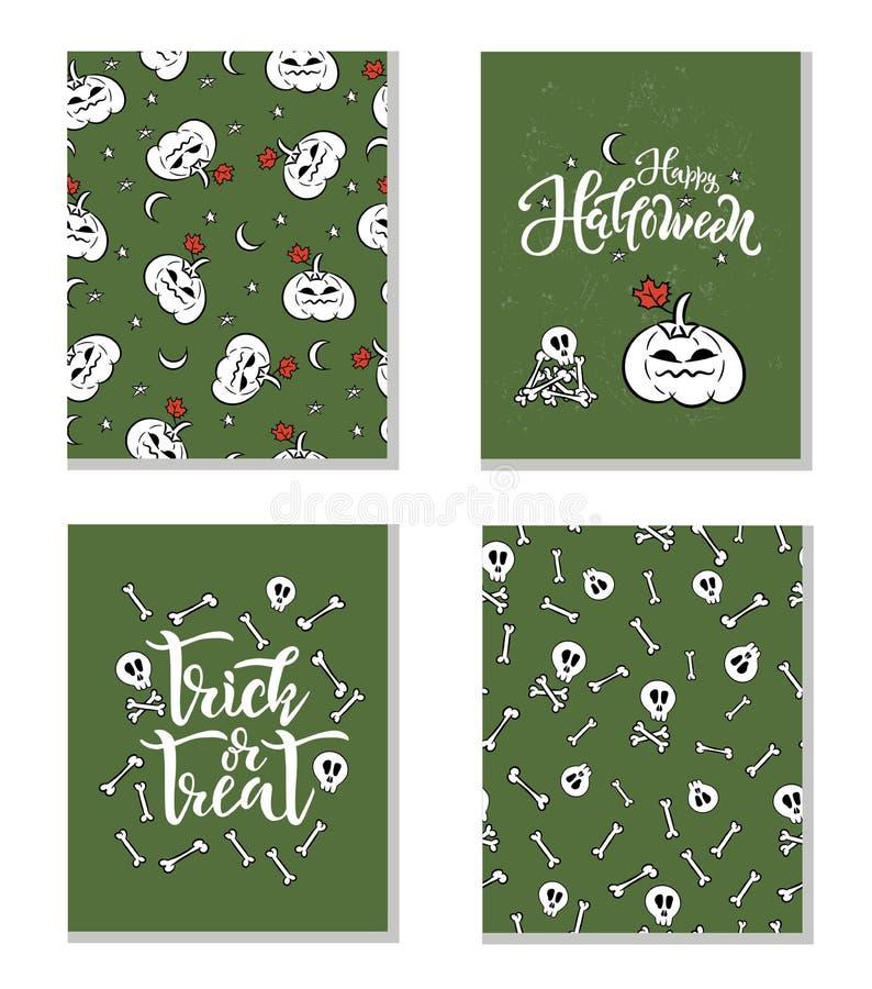 Reeks Halloween-de tekst van het vakantieconcept en naadloze patronen Vectorillustratie voor prentbriefkaar, document ontwerpdruk vector illustratie