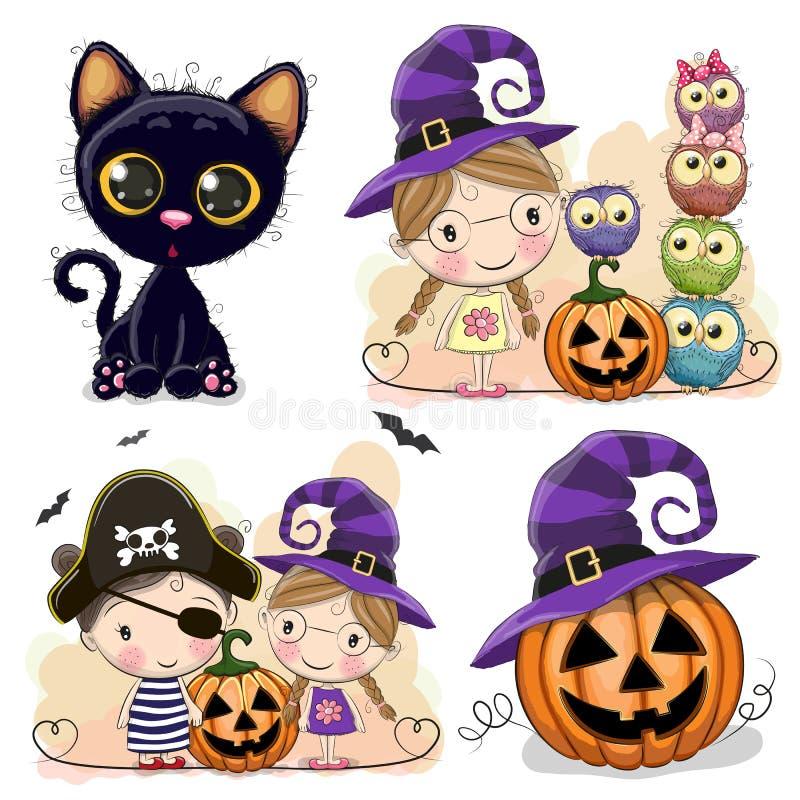 Reeks Halloween-kaarten met twee meisjes vector illustratie