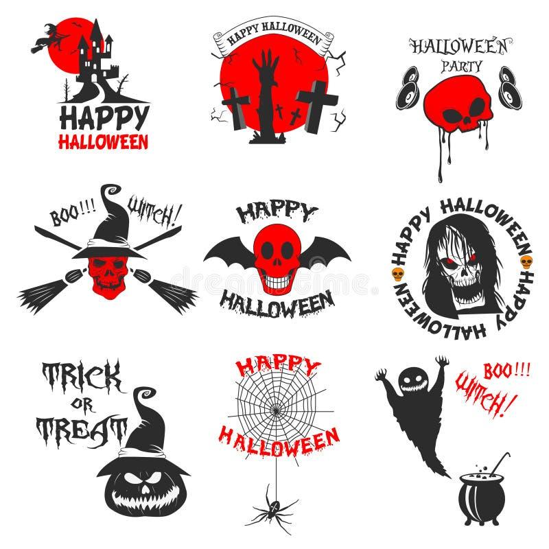Reeks Halloween-partijetiketten, kentekens en ontwerpelementen royalty-vrije illustratie