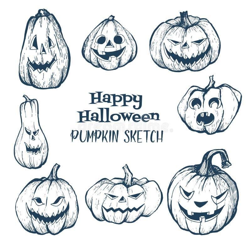 Reeks Halloween-pompoenen met kwade enge glimlach stock illustratie