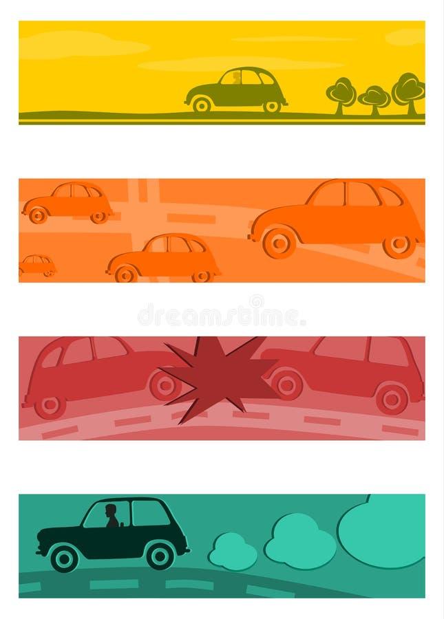 Reeks halve banners met retro auto's. stock illustratie