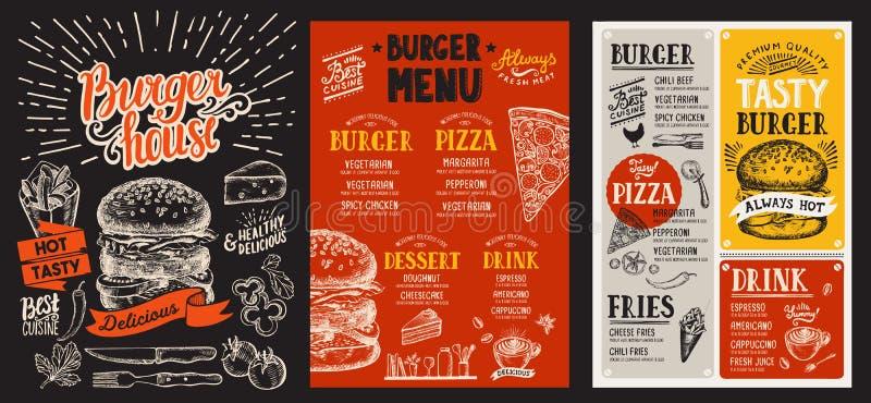 Reeks hamburgermenu's voor restaurant Vectorvoedselvlieger voor bar vector illustratie