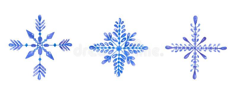 Reeks hand-drawn blauwe die waterverfsneeuwvlokken op witte achtergrond wordt geïsoleerd Kan als Kerstkaart worden gebruikt vector illustratie
