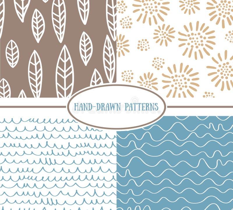 Reeks hand-drawn eenvoudige naadloze patronen stock illustratie