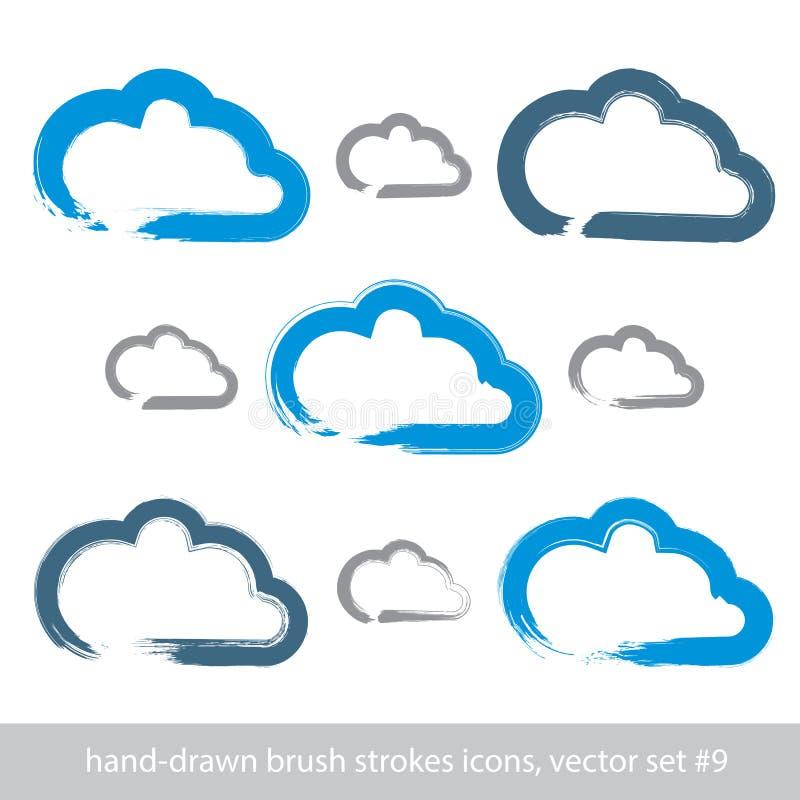 Reeks hand-drawn eenvoudige pictogrammen van de slag vectorwolk stock illustratie