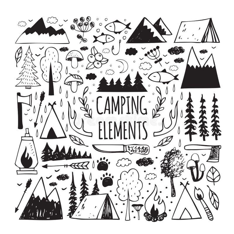 Reeks hand-drawn elementen voor ontwerpembleem het kamperen royalty-vrije illustratie