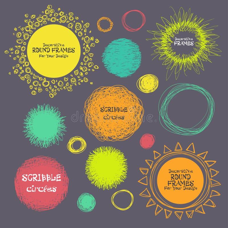 Reeks hand-drawn gekrabbelcirkels en decoratieve kaders voor u Vector stock illustratie