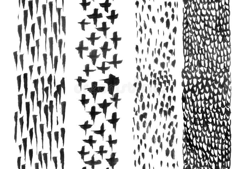 Reeks hand-drawn inktstrepen vector illustratie