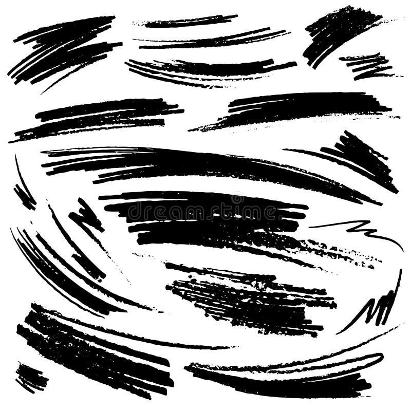 Reeks hand-drawn potloodslagen stock illustratie