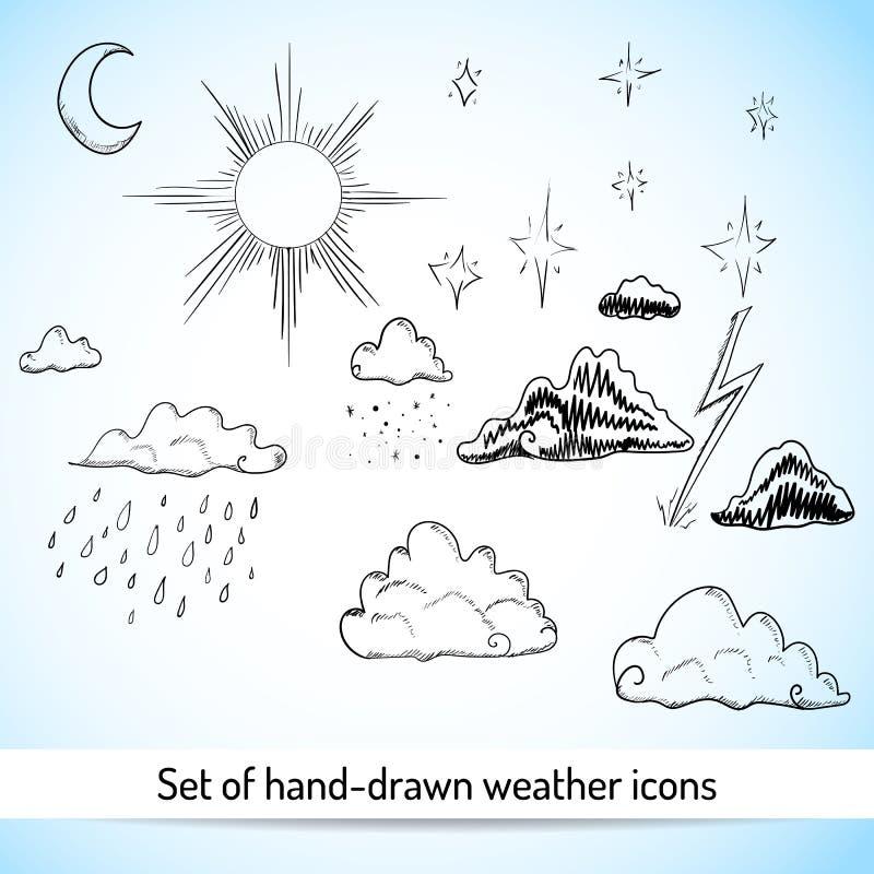 Reeks hand-drawn weerpictogrammen vector illustratie