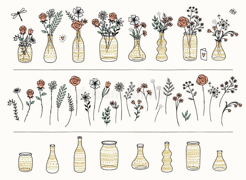 Reeks hand getrokken bloemen en goud gevormde vazen stock illustratie