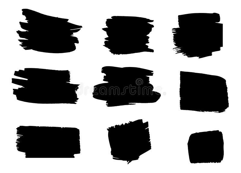 Reeks hand getrokken borstels en ontwerpelementen de zwarte verf, inkt artistieke creatieve vormen De zwarte plonsen van de Inkt royalty-vrije stock afbeeldingen