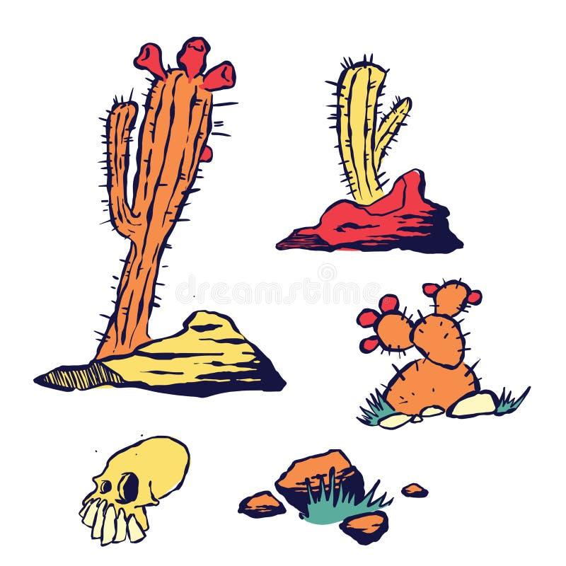Reeks Hand Getrokken Cactus en Rotsen royalty-vrije illustratie
