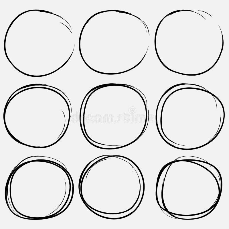 Reeks hand getrokken cirkelelementen stock illustratie