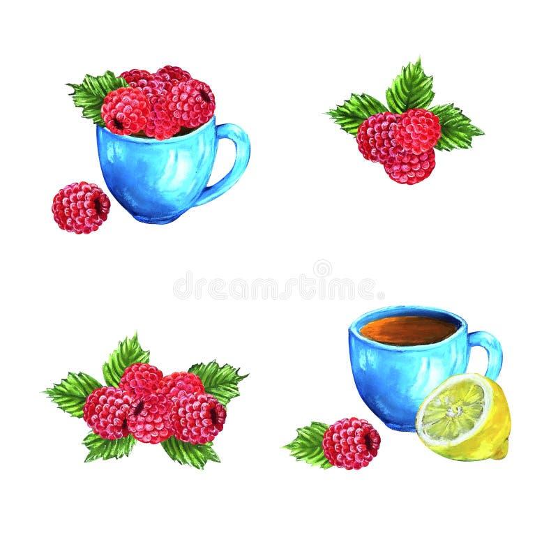 Reeks hand getrokken decoratieve pastelkleursamenstellingen met frambozen en citroen vector illustratie