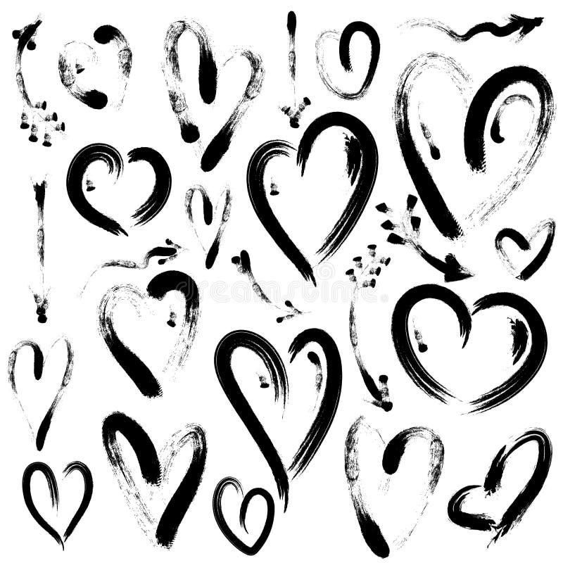 Reeks hand getrokken die hart en pijlen op witte achtergrond wordt geïsoleerd Illustratie door borstel Harten voor Valentijnskaar vector illustratie