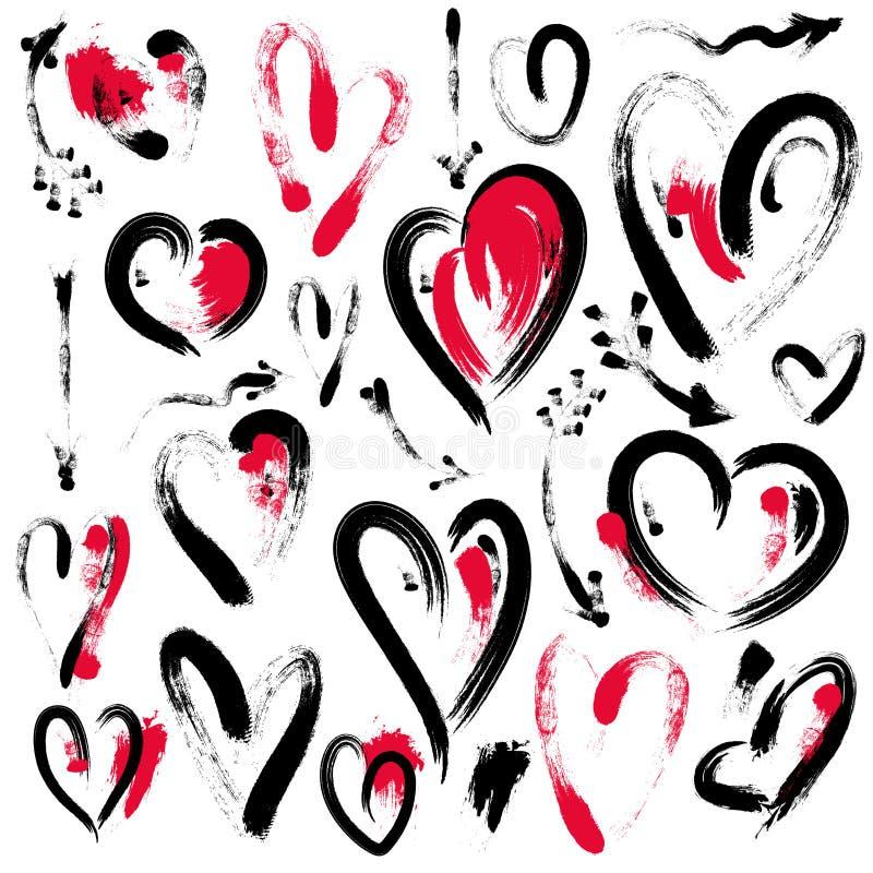 Reeks hand getrokken die hart en pijlen op witte achtergrond wordt geïsoleerd Symbool van liefde Elementen door borstel stock illustratie