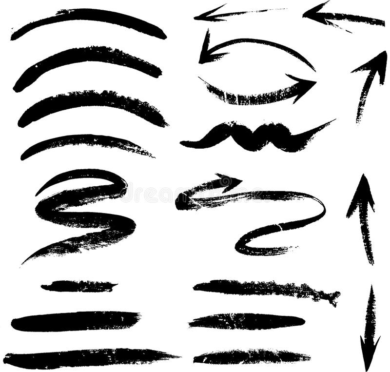 Reeks hand getrokken die lijnen en pijlen op wit worden geïsoleerd royalty-vrije stock foto