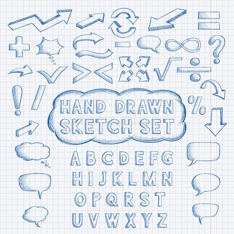 Reeks hand getrokken elementen Doopvont, wiskunde en punctuatiesymbolen, pijlen, toespraakbellen vector illustratie