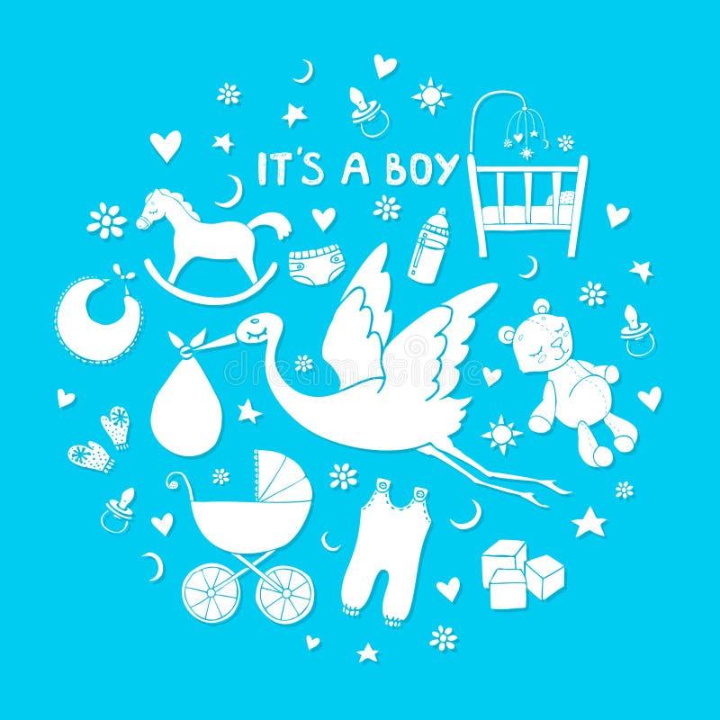 Reeks hand getrokken elementen Het materiaal van de babyjongen Inzameling van vector leuke pictogrammen stock illustratie